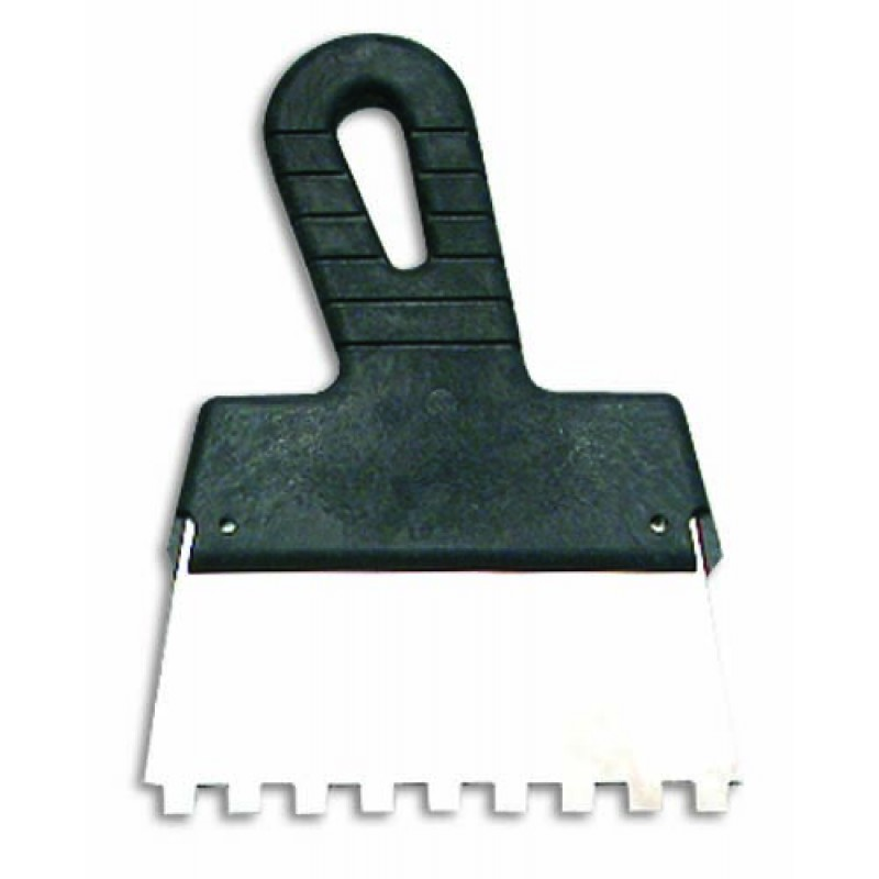 Зубчатый шпатель, зуб 6*6 мм из нержавеющей стали с пластмассовой ручкой 250 мм