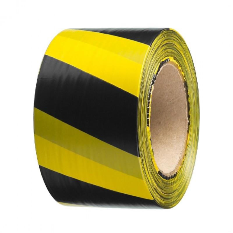 Лента сигнальная желто-черная 75мм-200м